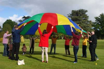 Parachute games at the Chard Churches Together picnic at Forde Abbey, May 2015